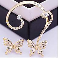 Kolczyki z klipsem sztuczna Diament Modny luksusowa biżuteria Europejski Cyrkon Cyrkonia sztuczna Diament Stop Animal Shape MotylWhite