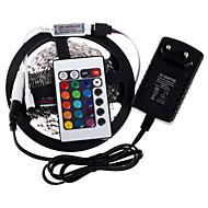 RGB LED bånd 5m 300 3528smd fleksibelt lys førte bånd party dekoration lamper DC12V 3a strømadapter IR fjernbetjening