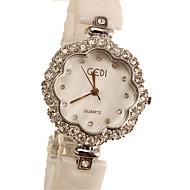Dames Modieus horloge Gesimuleerd Diamant Horloge Kwarts imitatie Diamond Keramiek Band Ivoor