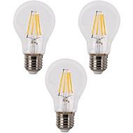 4W E26/E27 LED Filament Bulbs A60(A19) 4 COB 400 lm Warm White Dimmable 110-120 AC 220-240 V 3 pcs