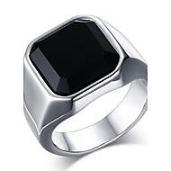 Herre Statement-ringe Ring Onyx Mode kostume smykker Rustfrit Stål Agat Smykker Til Daglig Afslappet