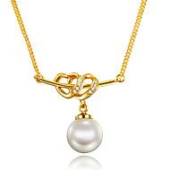 Γυναικεία Κρεμαστά Κολιέ Μαργαριταρένια Cubic Zirconia Μαργαριτάρι Επιχρυσωμένο 18K χρυσό Heart Shape Μοναδικό Καρδιά Euramerican Χρυσό
