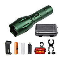 U'King ZQ-G7000-Green#3-US CREE XML-T6 2000LM Portable Zoom Flashlight Torch Kit 5Modes with 1*Battery and Charger