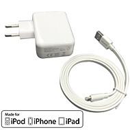 ce gecertificeerd eu reizen lader 1a / 2.4a dubbele uitgang + appel mfi gecertificeerde bliksem kabel voor iPhone 6s plus