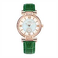 SINOBI 女性用 ファッションウォッチ ダミー ダイアモンド 腕時計 耐水 クォーツ レザー バンド グリーン
