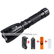 UKing ZQ-X910T6#-US Cree XM-L T6 2000LM 5Modes Flashlight Torch Kit Direct Charging Self Defense Design with 1*18650 Battery and Charger
