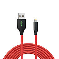 MFI 6ft / 200CM Certified Braided Lightning Charge USB Cable for iPhone 7 7 Plus 6s 6 Plus SE 5s 5  iPad Pro / Air /Mini - red