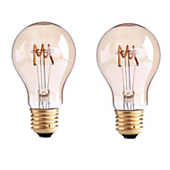 2PCS 4W B22/E27  LED Soft Filament Bulbs G60 4 COB 400 lm Warm White Dimmable AC 220-240 AC 110-130 V