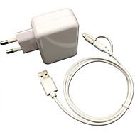 Certificado CE eu pared recorrido cargador 1a / 2.1a doble salida + IMF manzana rayo certificada cable usb + micro de 6s iphone