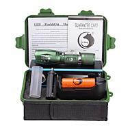 조명 LED손전등 손전등 키트 LED 2000 루멘 5 모드 Cree XM-L T6 18650 AAA 조절가능한 초점 클립 캠핑/등산/동굴탐험 일상용 야외 알루미늄 합금