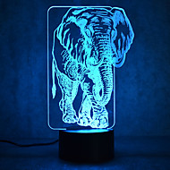 julelefant kontakt mörkläggning 3D LED nattlampa 7colorful dekoration atmosfär lampa nyhet belysning jul ljus