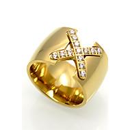 指輪 幾何学形 ダブルレイヤー ファッション あり Rock 欧米の キュービックジルコニア チタン鋼 幾何学形 ゴールド シルバー ローズ ジュエリー のために 結婚式 パーティー Halloween 日常 カジュアル 1個