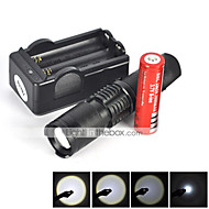 LT LED-Zaklampen LED 2200 Lumens 5 Modus Cree XM-L T6 18650 Waterdicht Oplaadbaar Schokbestendig Zoombare Slagring Tactisch Noodgeval