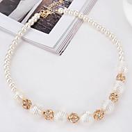 Žene Choker oglice Imitacija Pearl imitacija Diamond Round Shape Biseri Legura Kružni dizajn Zlato Jewelry Za Party Rođendan Dnevno 1pc