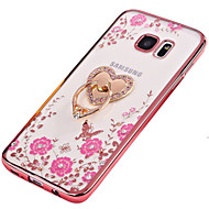 For Samsung S7 Edge S7 Cover Case Rhinestone Plating Ring Holder Translucent DIY Case Back Cover Case Flower Soft TPU S6 Edge plus S6 Edge S6