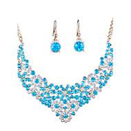 Smykke Sett Rhinstein Mote Euro-Amerikansk uttalelse smykker Brude Luksus Smykker imitasjon Diamond Legering Smykker Rød BlåHalskjeder