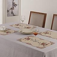 Rectangulaire Embroidered Placemats , Cotton Blend materiaaliTaulukko Dceoration Häät Illallinen sisustus Favor Sisustus Hotel ruokapöytä