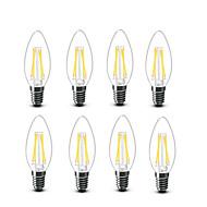 3.5 E14 フィラメントタイプLED電球 C35 4 COB 400 lm 温白色 装飾用 AC220 AC230V印加時 AC240 V 8枚