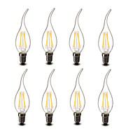 3.5 E14 Luzes de LED em Vela CA35 4 COB 400 lm Branco Quente Decorativa AC 220-240 V 8 Pças.