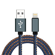 JDB 2.1A Data Fast Charging Charger USB Cable 1M Jean Cloth Lightning 8P USB Cable For iPhone 7 6 6 Plus 5 5s