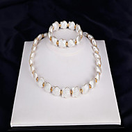 ブライダルジュエリーセット 人造真珠 人造真珠 ファッション 真珠 シェル ジュエリー ホワイト 1×ネックレス 1×イヤリング(ペア) 1×ブレスレット のために 結婚式 パーティー 日常 1セット ウェディングギフト