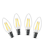3W E14 LED Candle Lights C35 4 COB 400 lm Warm White Decorative AC 220-240 V 4 pcs
