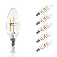 3W E12 フィラメントタイプLED電球 C35 2 COB 200 lm 温白色 明るさ調整 AC 110-130 V 6個