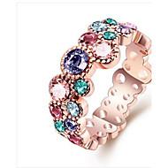 指輪 キュービックジルコニア 円形 ジルコン ゴールドメッキ 円形 ジュエリー のために 誕生日 日常 カジュアル 1個