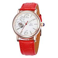 Damskie Modny zegarek mechaniczny Kwarcowy Nakręcanie automatyczne Skóra Pasmo Biały Czerwony Purpurowy