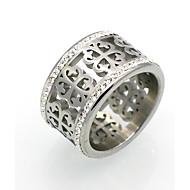 女性用 カップル用 バンドリング ステートメントリング 指輪 キュービックジルコニア サークル ユニーク 幾何学形 欧米の ダブルレイヤー ファッション ビンテージ あり Rock キュービックジルコニア チタン鋼 18K 金 円形 幾何学形 ジュエリー のために結婚式