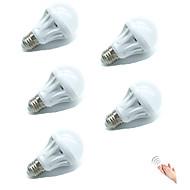 5pcs 5W E27 LED Smart Bulbs 18SMD 2835 Warm/Cool White Sensor Sound-Activated Decorative Light Control AC220-240V