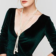 Damskie Pasemka Naszyjniki Długi Naszyjnik Perlový náhrdelník Circle Shape Perłowy Imitacja pereł Elegancki Wielowarstwowy Biżuteria Na