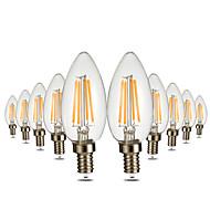 4W LED-kynttilälamput C35 4 COB 300-400 lm Lämmin valkoinen Himmennettävissä Koristeltu AC 110-130 V 10 kpl