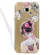 Case voor Samsung Galaxy A5 (2017) a3 (2017) vlinder sexy dame patroon acryl backplane en TPU rand materia nek lanyard A510 A310
