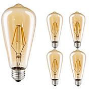 4W LED-glødetrådspærer ST64 4 COB 360 lm Varm hvid Kold hvid Dekorativ Vekselstrøm 220-240 V 5 stk. E27