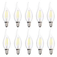 2W Izzószálas LED lámpák C35 2 COB 200 lm Meleg fehér Fehér Tompítható AC 220-240 V 10 db.
