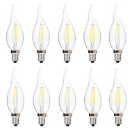 2W LED필라멘트 전구 C35 2 COB 200 lm 따뜻한 화이트 화이트 밝기조절가능 AC 220-240 V 10개