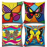 Set Of 4 Baroque Colorful Butterfly Pillow Cover Classic Sofa Cushion Cover Square Pillow Case