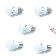 3W Smart LED-lampe A60(A19) 9 SMD 2835 200 lm Varm hvid Kold hvid Sensor Lydaktiveret Dekorativ Lysstyring Vekselstrøm 220-240 V 5 stk.