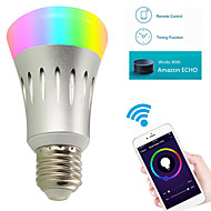 8w led intelligens izzók a19 22 smd 2835 600 lm rgbw wifi működik app & amazon alexa echo ac 85-265v 1db