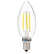 4W LED필라멘트 전구 C35 4 COB 350 lm 따뜻한 화이트 화이트 AC 220-240 V 1개