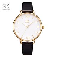 SK 여성용 패션 시계 손목 시계 중국어 석영 충격 방지 큰 다이얼 PU 밴드 캐쥬얼 럭셔리 블랙