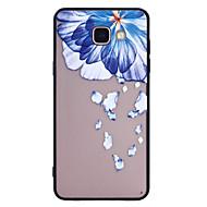 Voor samsung galaxy a5 (2017) a3 (2017) telefoon hoesje combo blauw bloemen patroon geverf lak reliëf scrub telefoon hoesje a5 (2016) a3