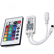 Hkv® 1kpl led-valot wifi-ohjaimella rgb 24-näppäimellä älykäs ohjain matkapuhelin kaukosäädin dc 5-28v
