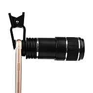 Fényképezőgép lencsevágó készlet univerzális optikai zoom objektív 12x zoom manuális fókusz eltávolítható teleszkóp clip-on kamera