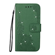 Hoesje voor Samsung Galaxy J5 (2016) j3 (2016) Rhinesto Met Tribune Met Embroidered Pattern Full Body Case Bloem Glitter Shine PU Leer