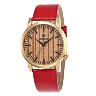 男性用 女性用 ファッションウォッチ 腕時計 ウッド 日本産 クォーツ 木製 本革 バンド チャーム カジュアルスーツ レッド