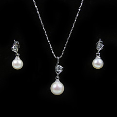 14k White Gold White 7.5 - 8mm AA FW Pearl Necklace And Earrings Set