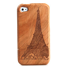 Carving Tower Pattern Wooden Case for iPhone 4 / 4S
