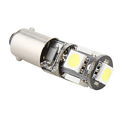 BA9S 1W 5x5050 SMD White Light LED Bulb for Car Brake Lamp (12V)